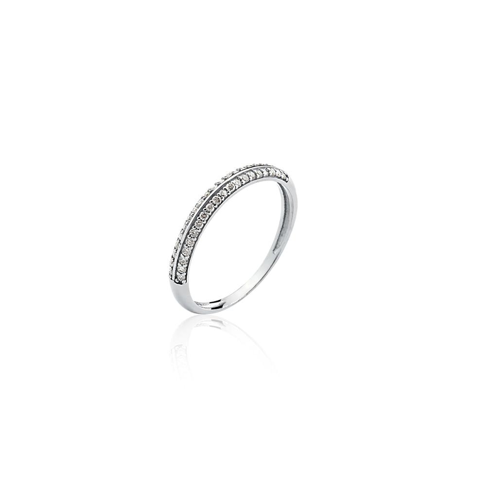 Anel Meia Aliança Ouro Branco 18K e Diamantes - Princess - cljoias 9e79690ab1