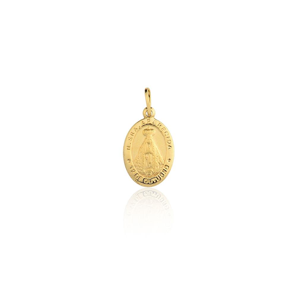 0ca2ebf3606af Medalha Nossa Sra. Aparecida Ouro Amarelo 18K - Religioso - cljoias