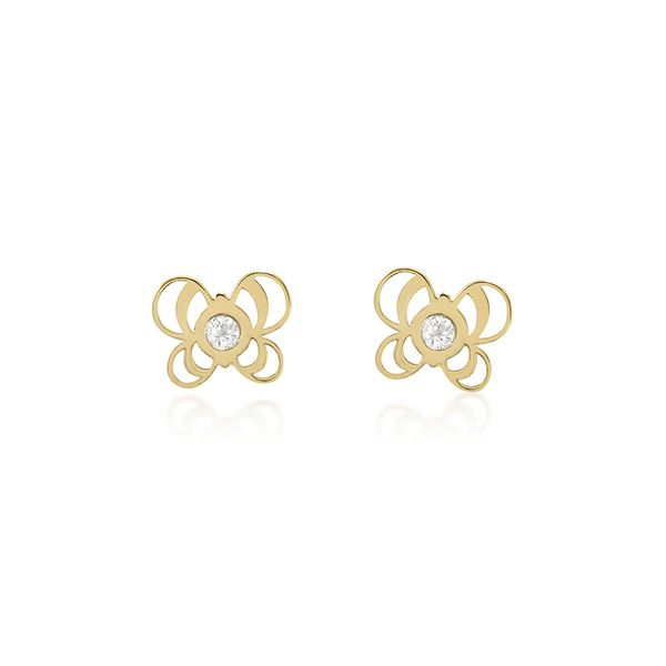 Brinco-Borboleta-Infantil-Ouro-Amarelo-18K-e-Zirconia---Bambini