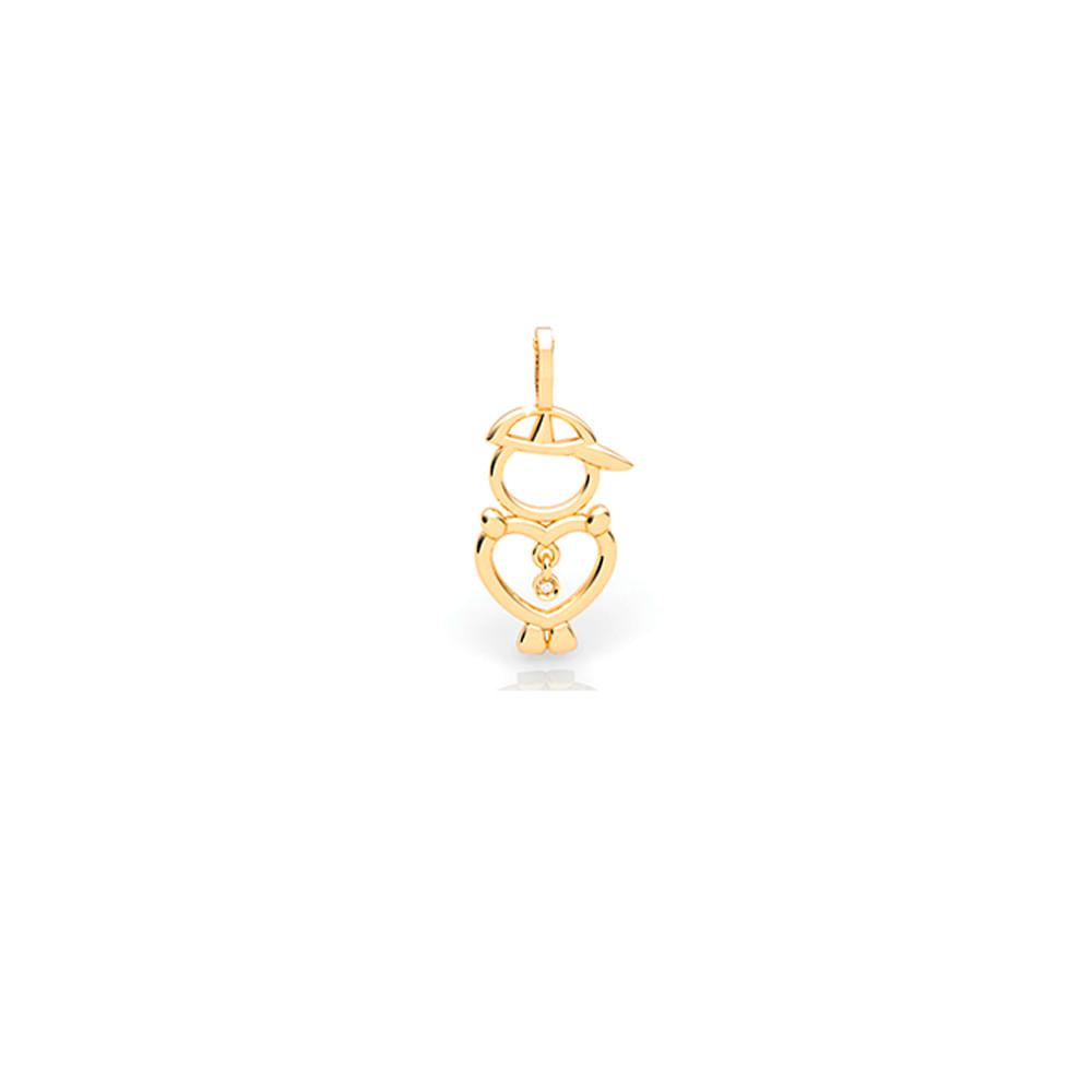 ed4ff63395c88 Pingente Menino Ouro Amarelo 18K e Diamante - My Babies - cljoias