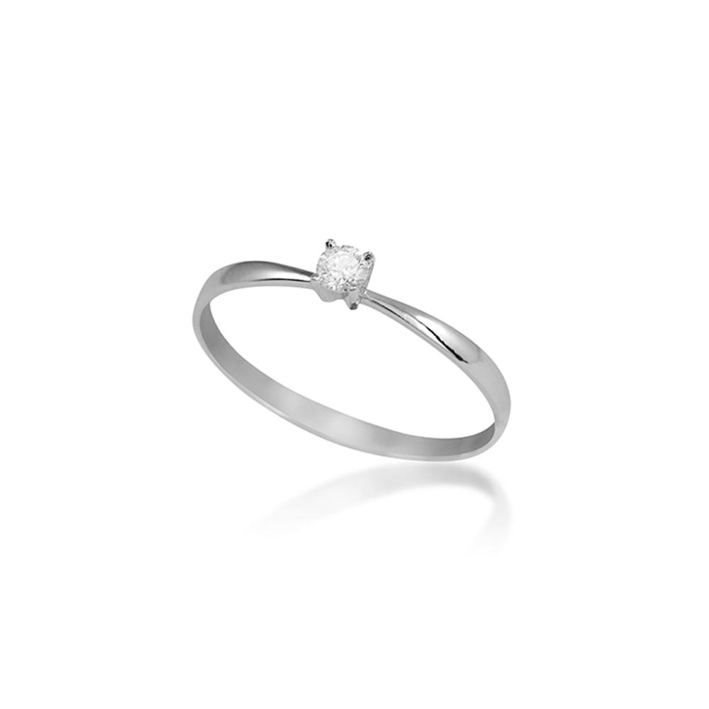 Anel Solitário Ouro Branco 18K Diamante 10 pontos - Endless - cljoias b24cc3578f