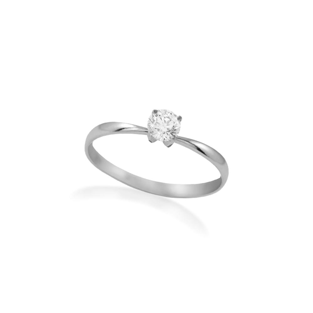 Anel Solitário Ouro Branco 18K Diamante 30 pontos - Endless - cljoias 2d42d8ac21