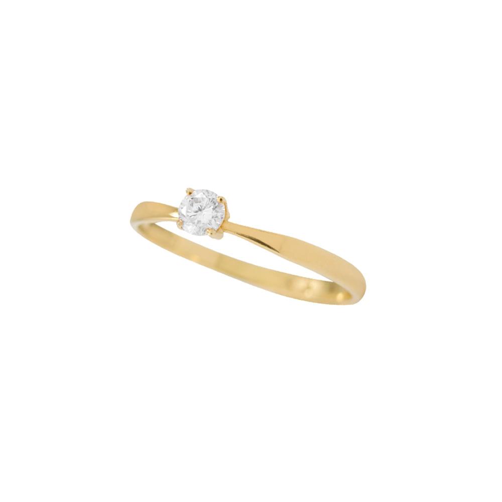 610f5c10e Anel Solitário Ouro Amarelo 18K Diamante 20 pontos - Endless - cljoias