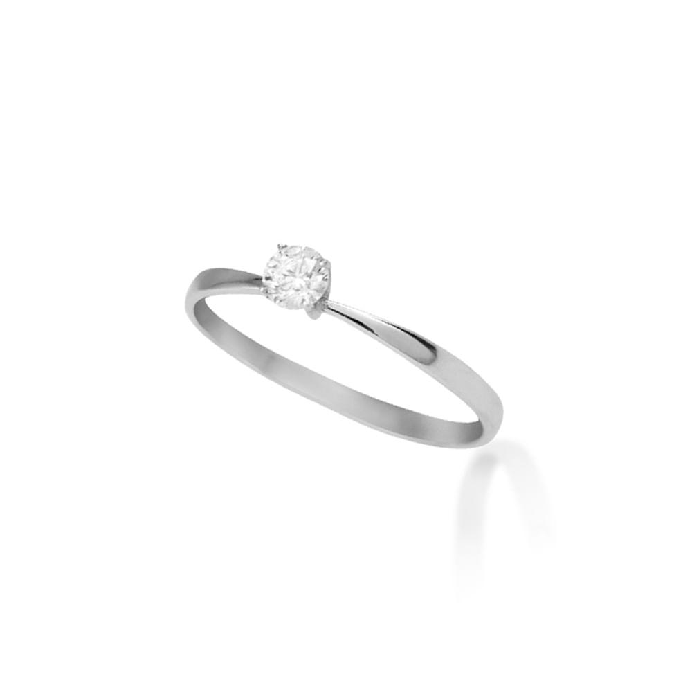 ae9027d0f Anel Solitário Ouro Branco 18K Diamante 15 pontos - Endless - cljoias