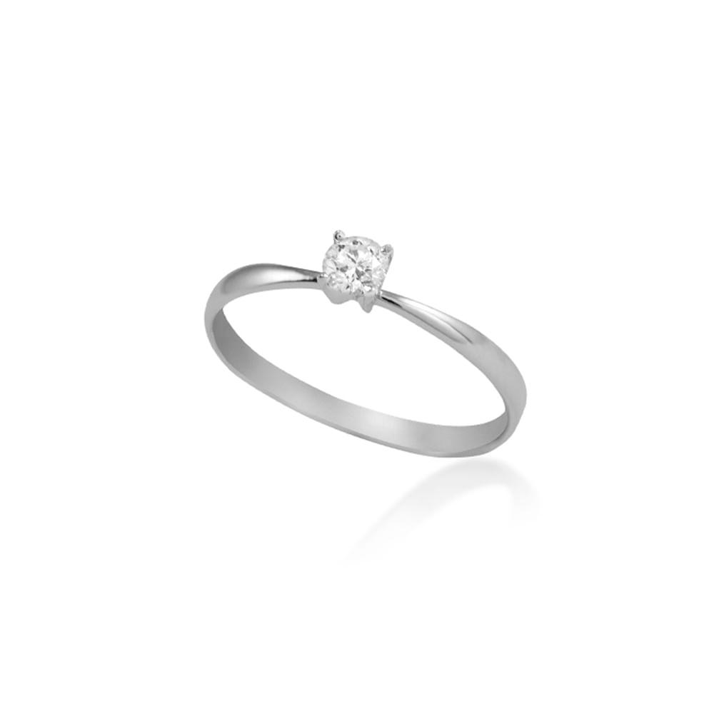 bd2e0590c082c Anel Solitário Ouro Branco 18K Diamante 20 pontos - Endless - cljoias