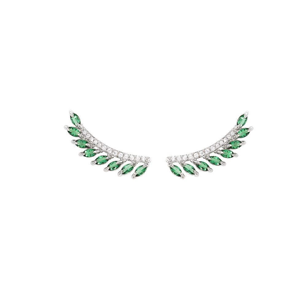 Brinco Ear Cuff Prata 925 com Cristal Verde e Zircônia - Forest BR597 V9  VD. Tabela de Medidas e5a03860ab