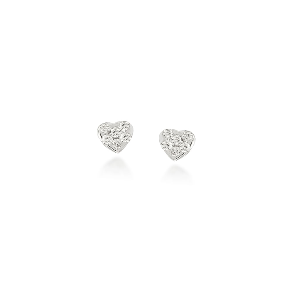 Brinco Infantil Coração Ouro Branco 18K e Diamante - Petit BR01737 OB CORAC  BRI f95f0b1e90