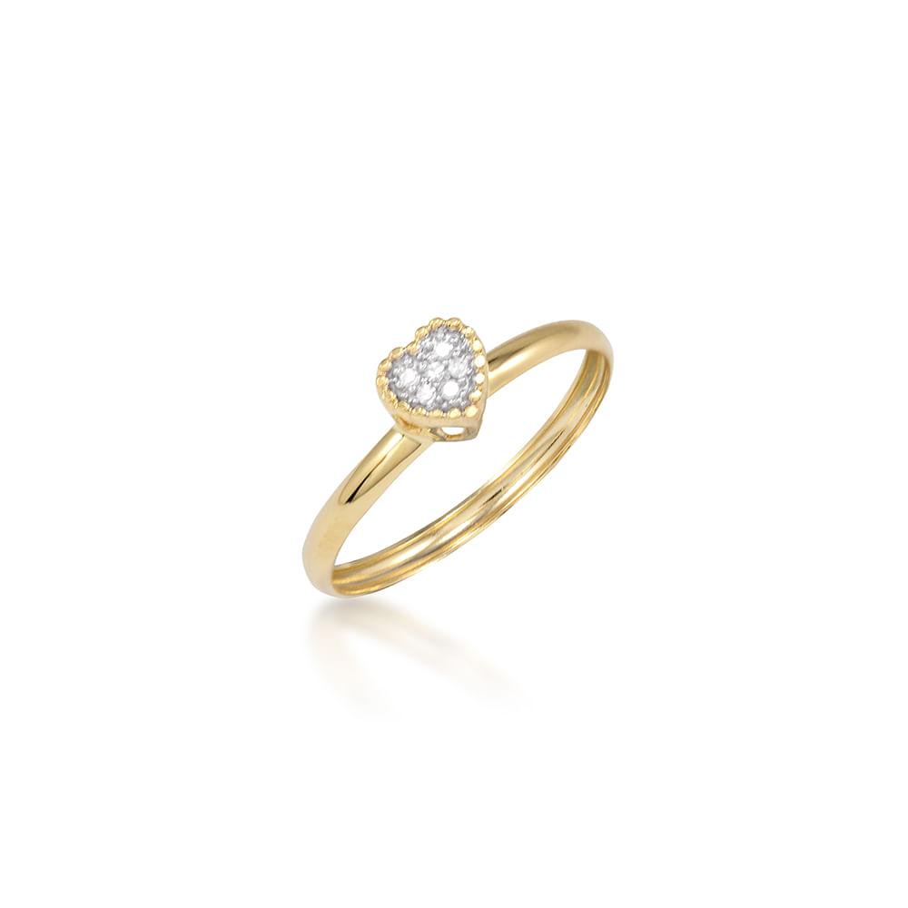 4d1735e1e Anel Coração Ouro Amarelo 18K e Diamante - Eternity - cljoias