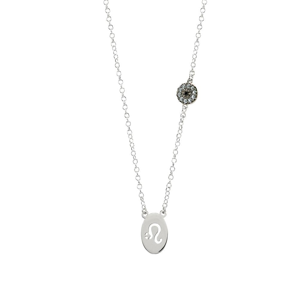 Gargantilha Signo Leão Prata 925 com Zircônia - Joy Amuletos - Gargantilha  Signo Leão Prata 925 com Zircônia - Joy Amuletos c58f22d69b