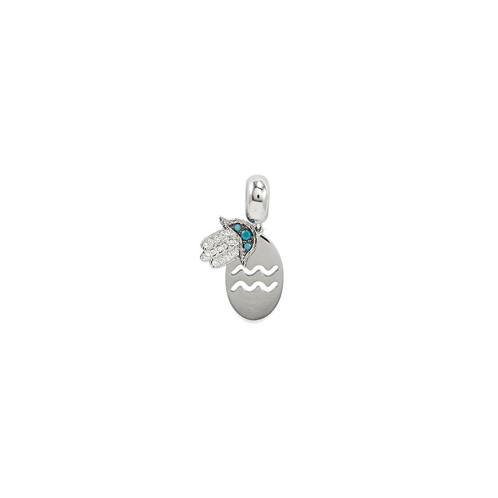 Pingente Signo Aquário Prata 925 e Zircônia - Joy Amuletos - cljoias ad42a2d801