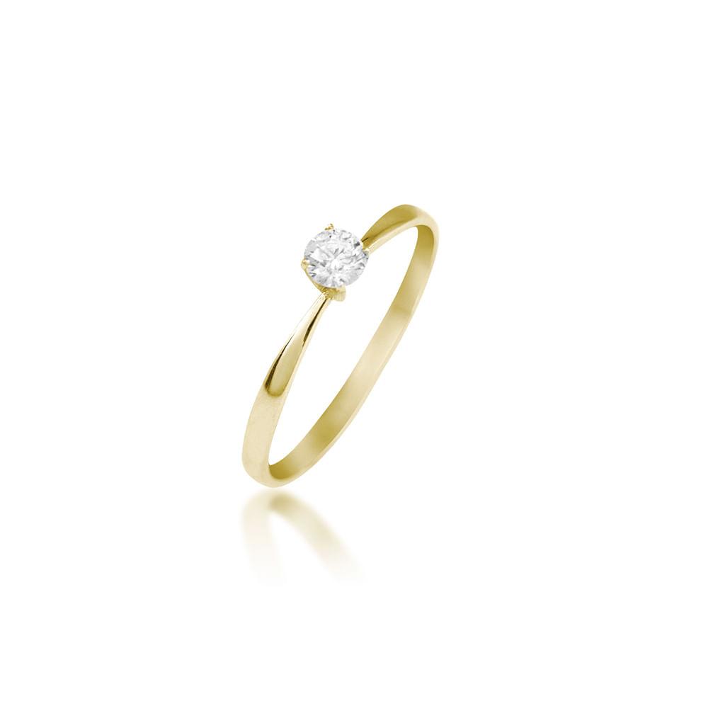 2611b6c136c9c Anel Solitário Ouro Amarelo 18K com Diamante 15 pontos - Endless ...