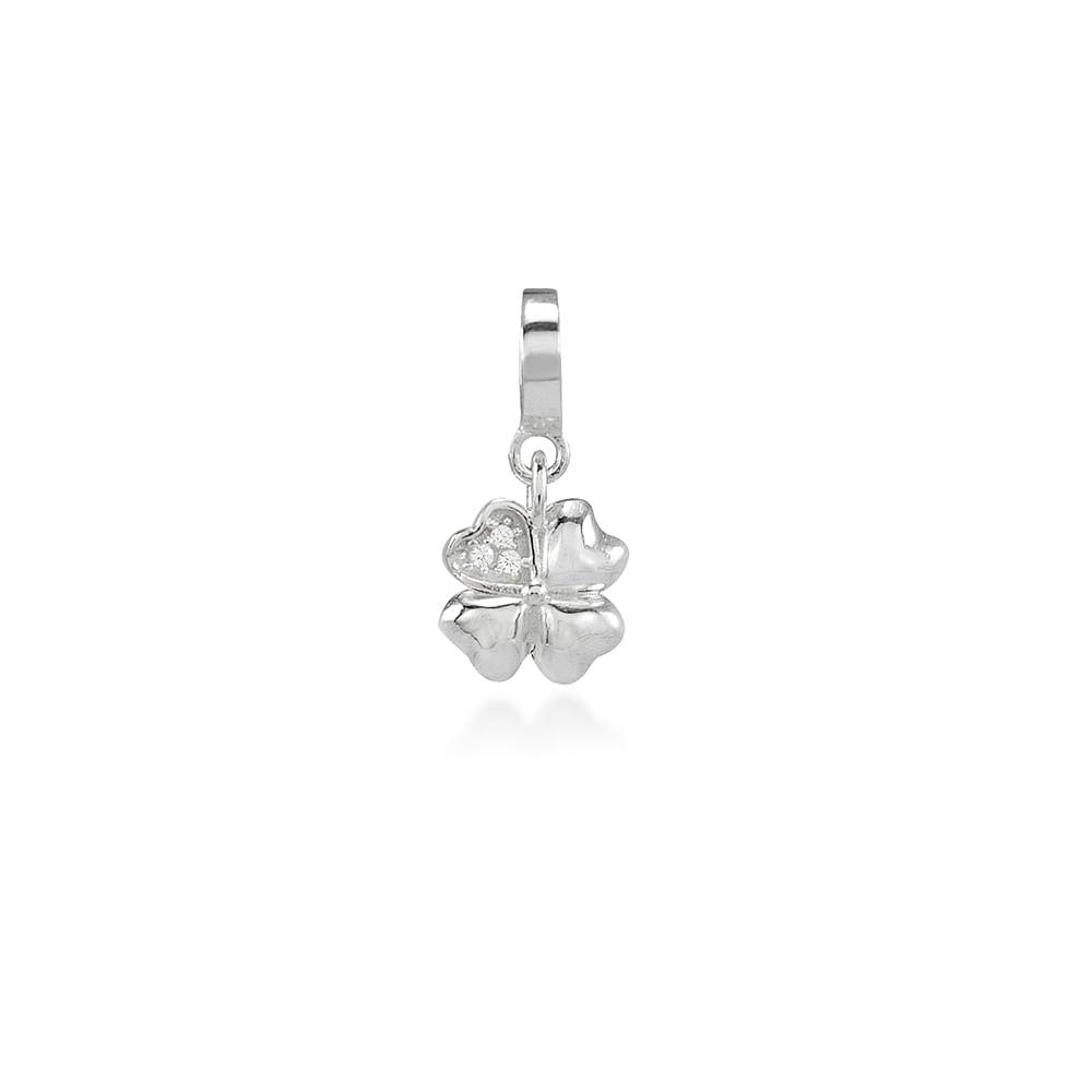 Pingente Prata 925 zirconia Joy Sorte PI 361145 TREVO ZIRC - cljoias 7d9302bbb0