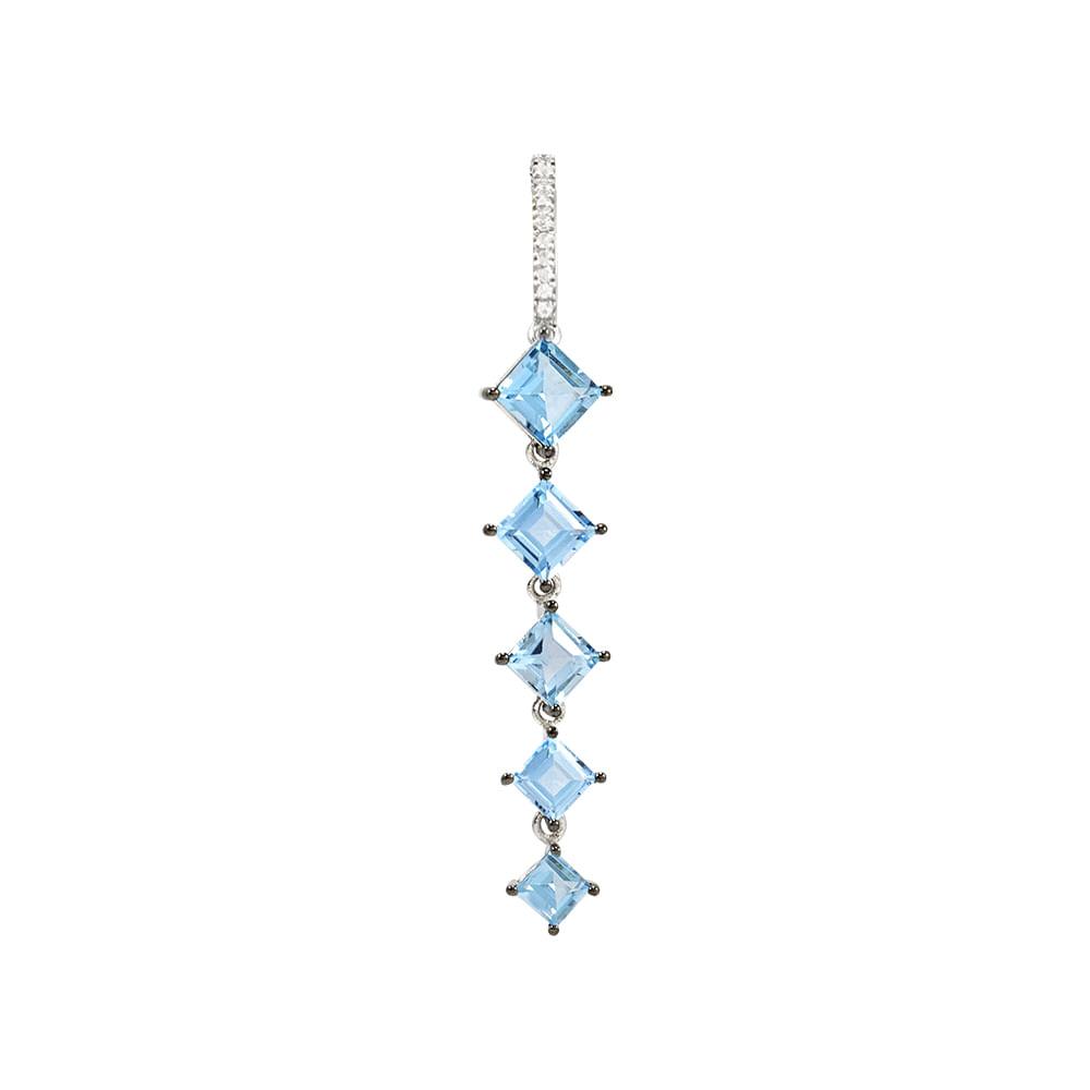 Pingente Prata 925 com Topázio Azul e Safira - Wonder - cljoias 750446e1ab