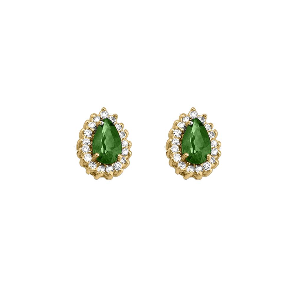 ff20cea4d96cb Brinco Ouro Amarelo 18K esmeralda diamante Royal BRF8220 2858 OA ...