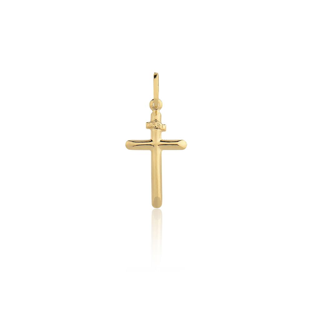 Pingente Cruz Ouro Amarelo 18K - Religioso - cljoias ca9156bd8b